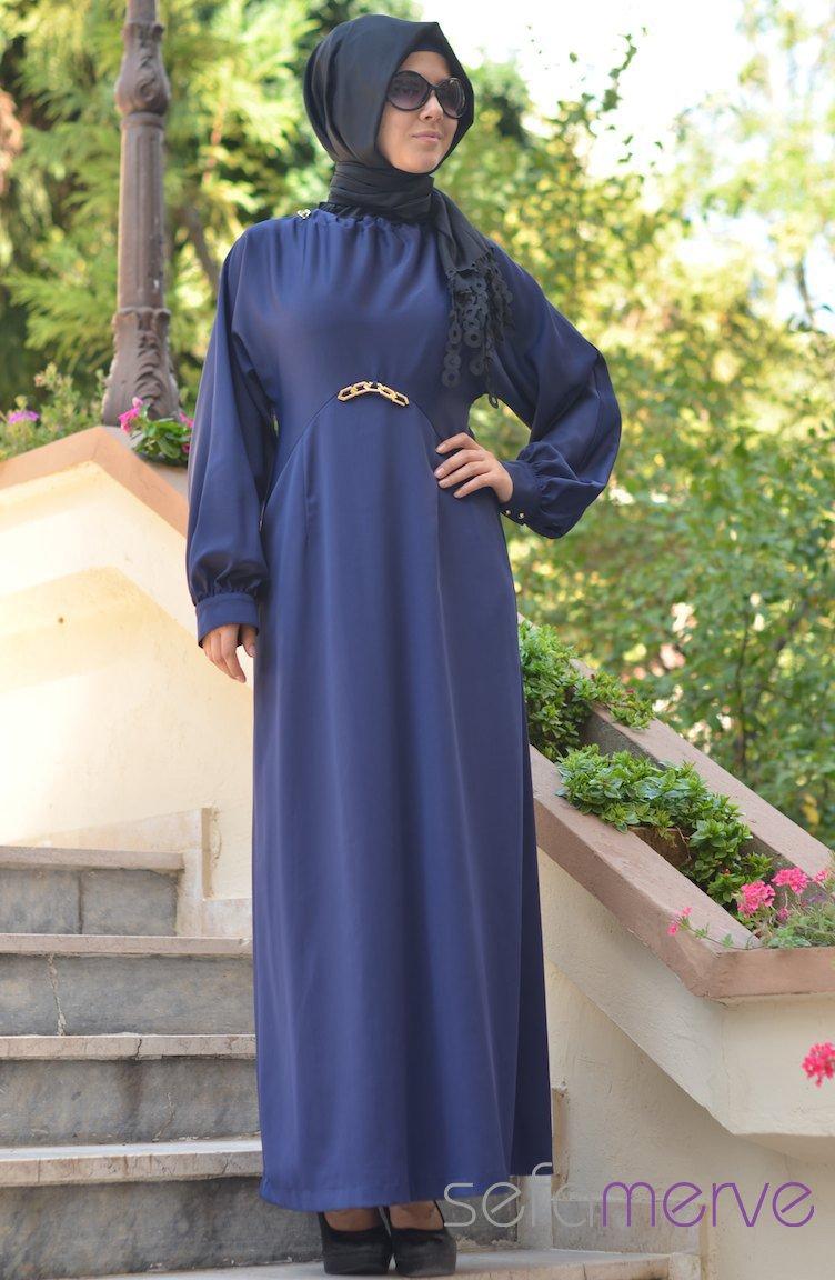 Sefamerve ala moda abiye elbise 4083 02 indigo mavi